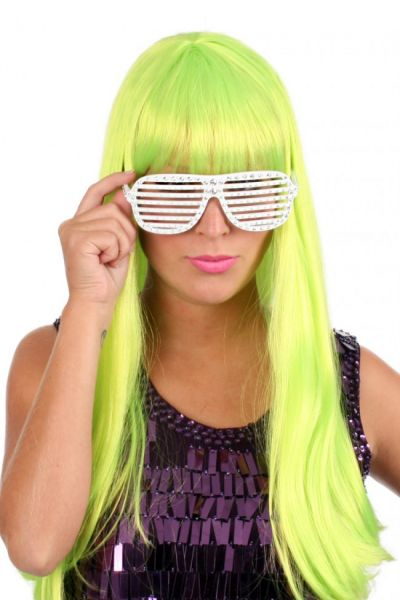 Ladies wig trendy long neon green hair