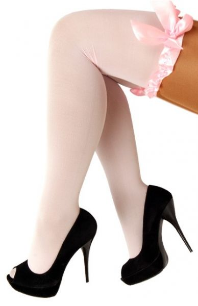 Baby pink Stay-up stockings with bow