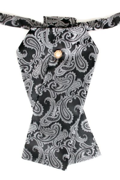 Plastron brocade fabric dark gray silver