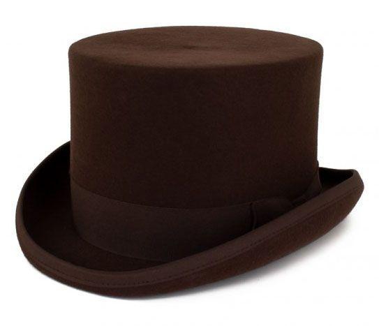 Brown wool wool top hat