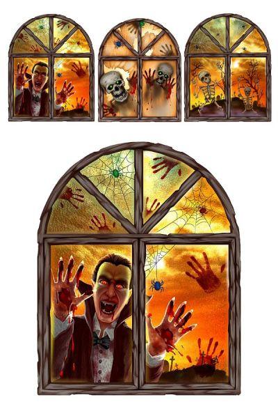 Halloween 3 D window stickers