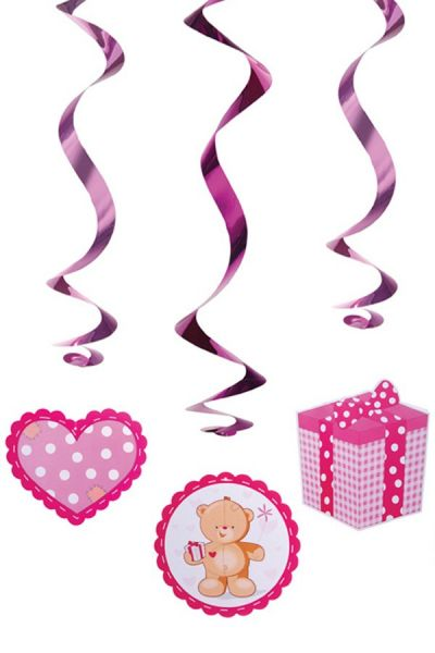 Hanging decoration swirls teddy bears pink