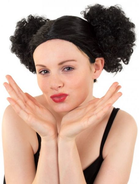 Wig with two big black buns