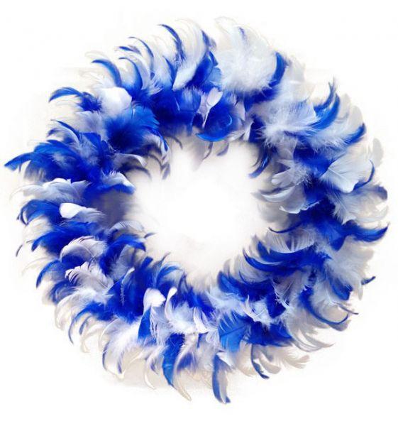 Wreath blue white of feathers festive decoration