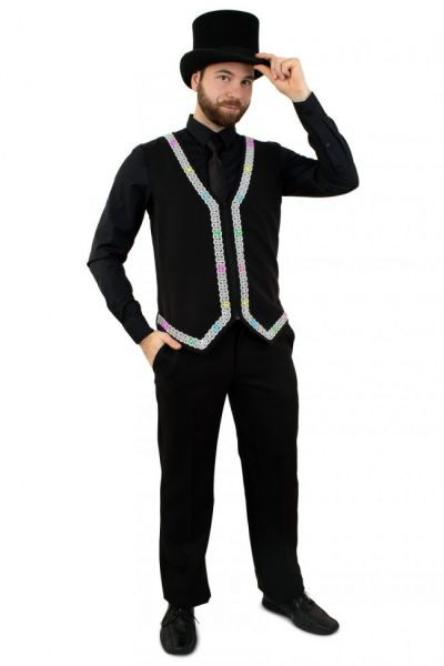 Men waistcoat with lighting with silver piping