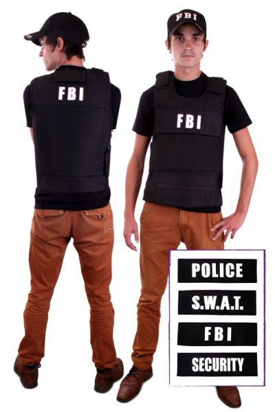 Bulletproof vest with 4 badges (FBI, Security, Police, S.W.A.T.)