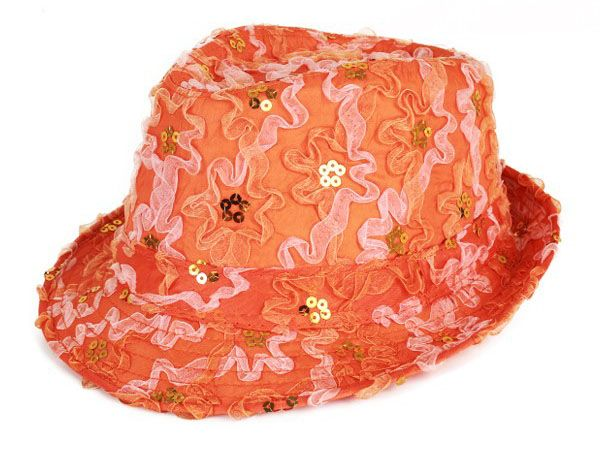 Hat ruffle with sequins orange