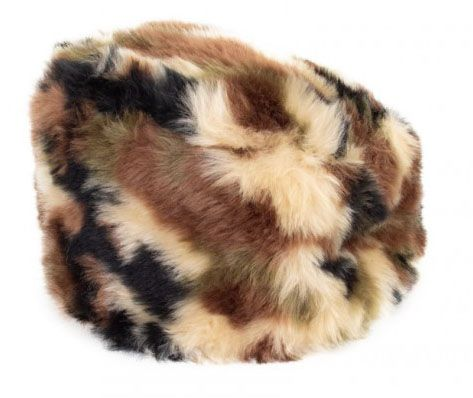 Military fur hat plush camouflage