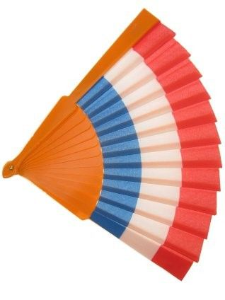 Fan 27 cm red white blue orange