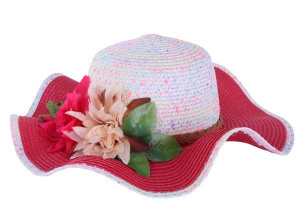 Beach hat pink white with band and flower