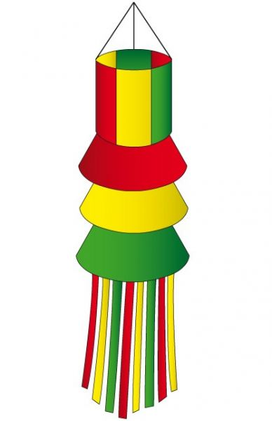 Windsock red yellow green with wisps
