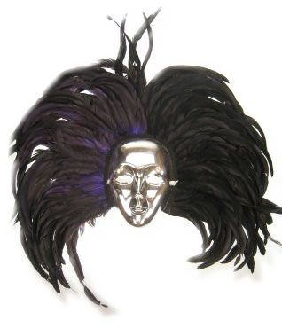 Mask silver with headdress black feathers