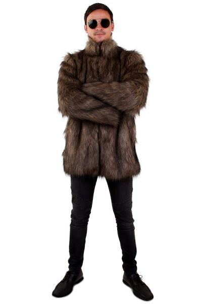 Long Pimp Fur coat brown hair men