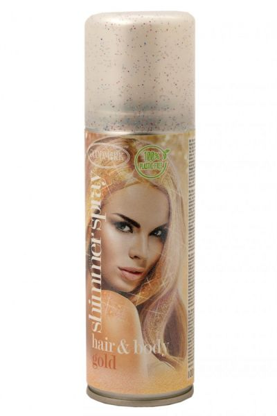 Hair and body spray glitter gold