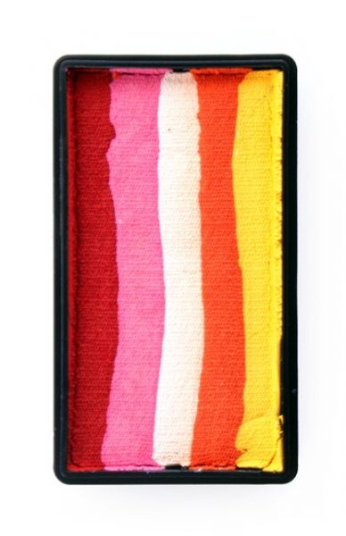 One Stroke split cake Red pink white orange yellow Face Painting PartyXplosion