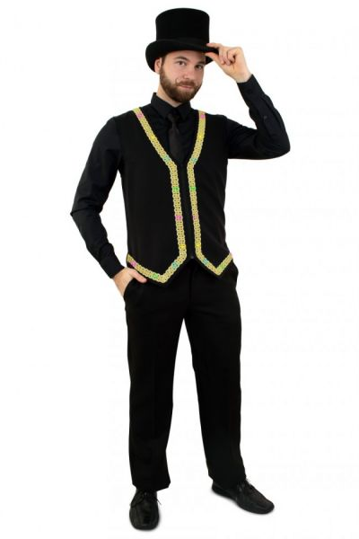 Men waistcoat with lighting with gold piping
