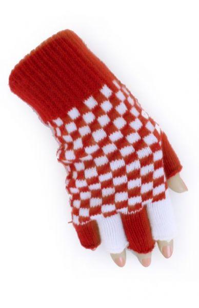 Fingerless gloves red white checkered