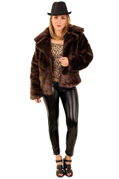 Ladies pimp fur coat brown