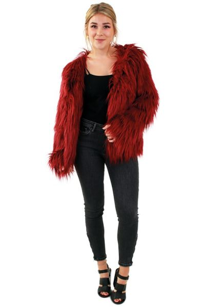 Ladies fur coat long hair burgundy