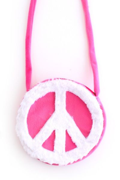 Shoulder bag Hippie Peace pink with white