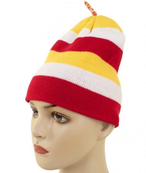 Knitted hat with tassel red white yellow