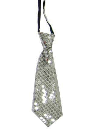 Short tie with silver sequins