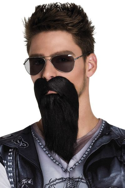 Beard with mustache black BIKER