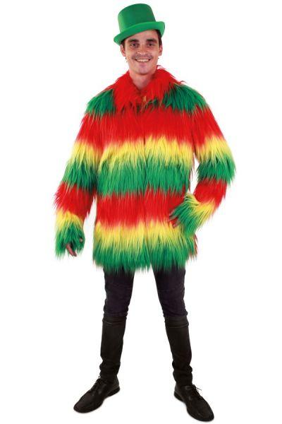 Fur coat long hair red yellow green men