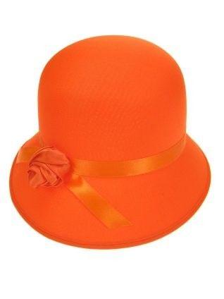 Ladies hat with rose neon orange