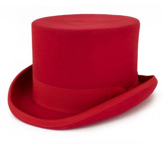 Red wool wool top hat