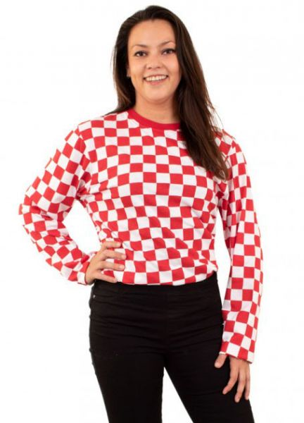 Sweater red white checkered long sleeves