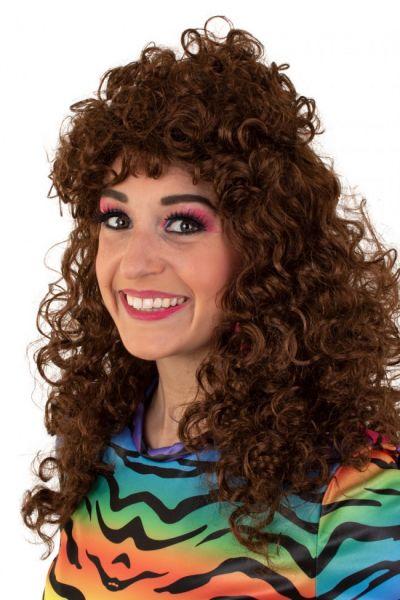 Long curly brown wig