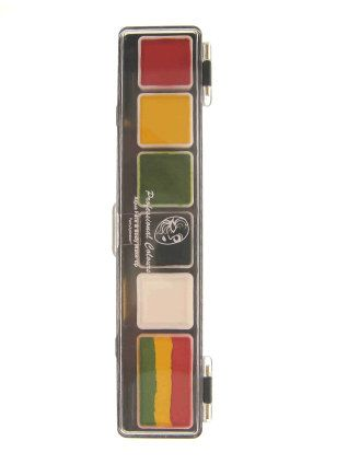 Face Paint Palette rasta colors with brush