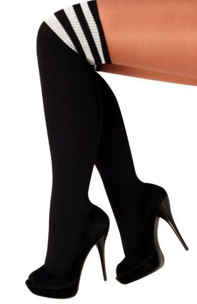Long knee socks black with 3 white stripes