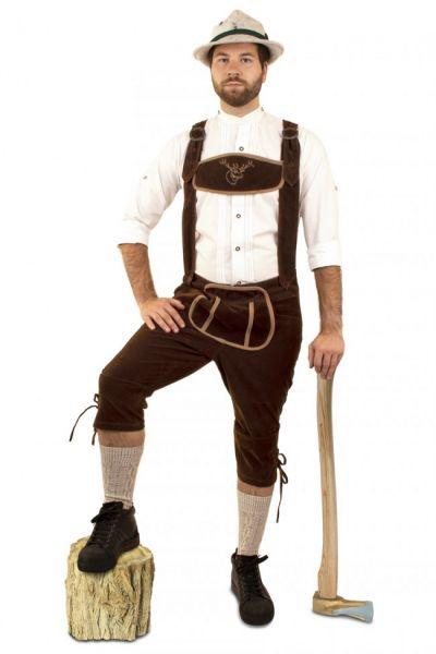 Tyrolean trousers dark brown long suede