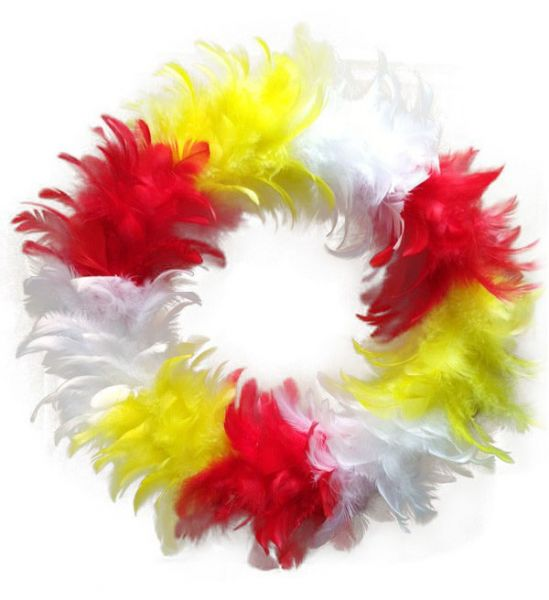 Wreath red white yellow of feathers