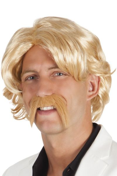 Men wig with mustache blond