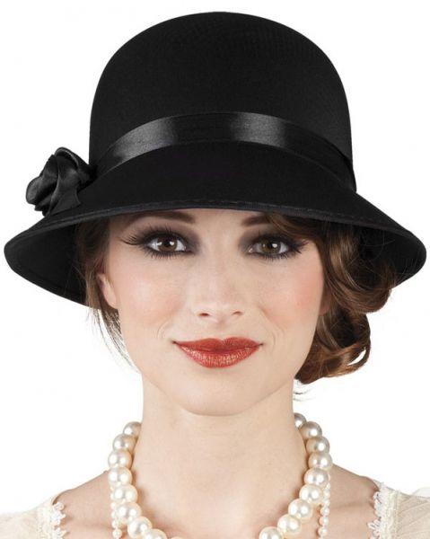 Charleston hat black with rose