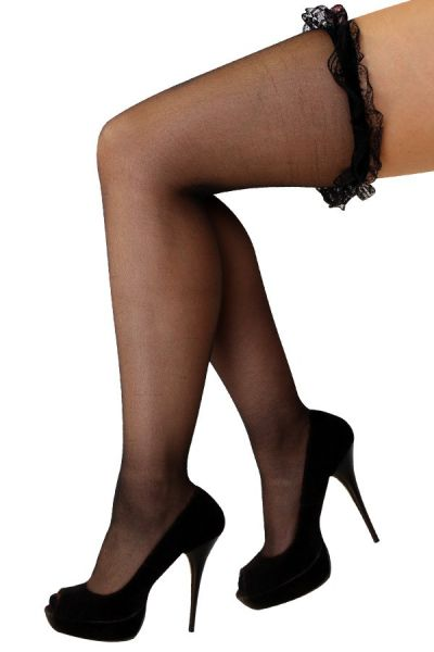 Stay-up stockings black with lace