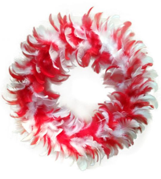 Wreath red white of feathers party decoration