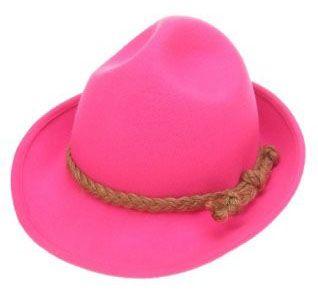 Oktoberfest Tyrolean hat wool felt fluorine neon pink