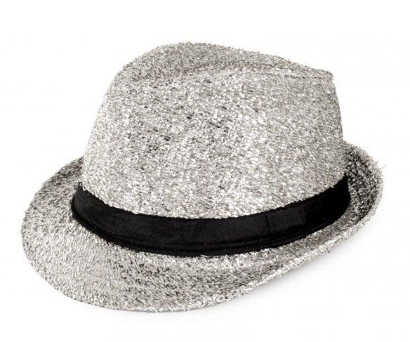 Disco gangster hat glitter silver