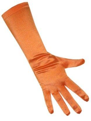 Satin gloves orange stretch