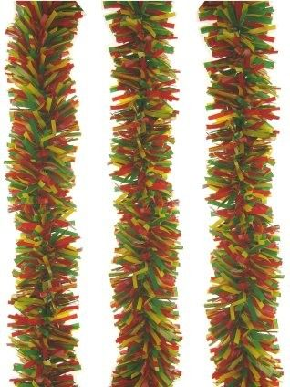 Plastic garland red yellow green 10 meters fireproof