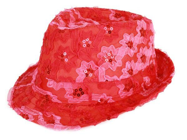 Hat ruffle with sequins red