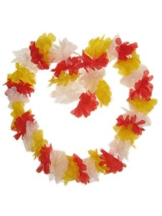 Hawaii necklace red - white - yellow garland