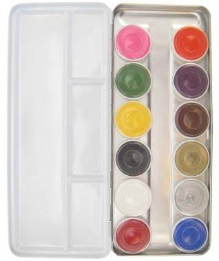 Aqua Face Paint palette with 12 colors