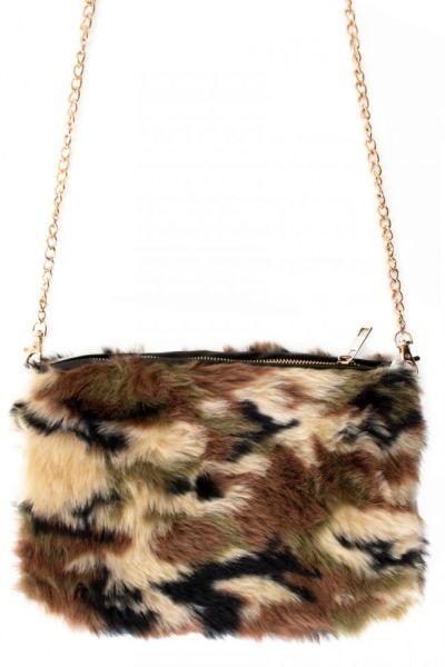Military camouflage fur bag