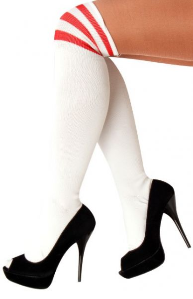Long knee socks white with 3 red stripes