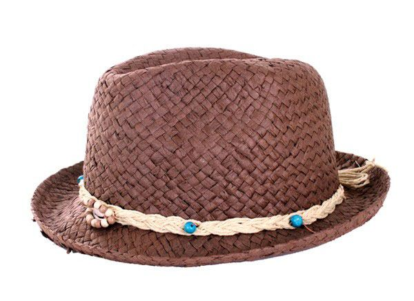 Hippie hat dark straw cut open with strap